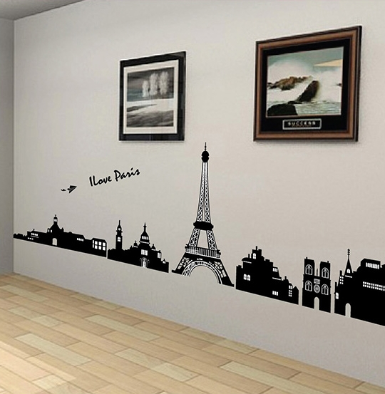Free Shipping Black I Love Pairs Eiffel Tower Removable 3D Wall