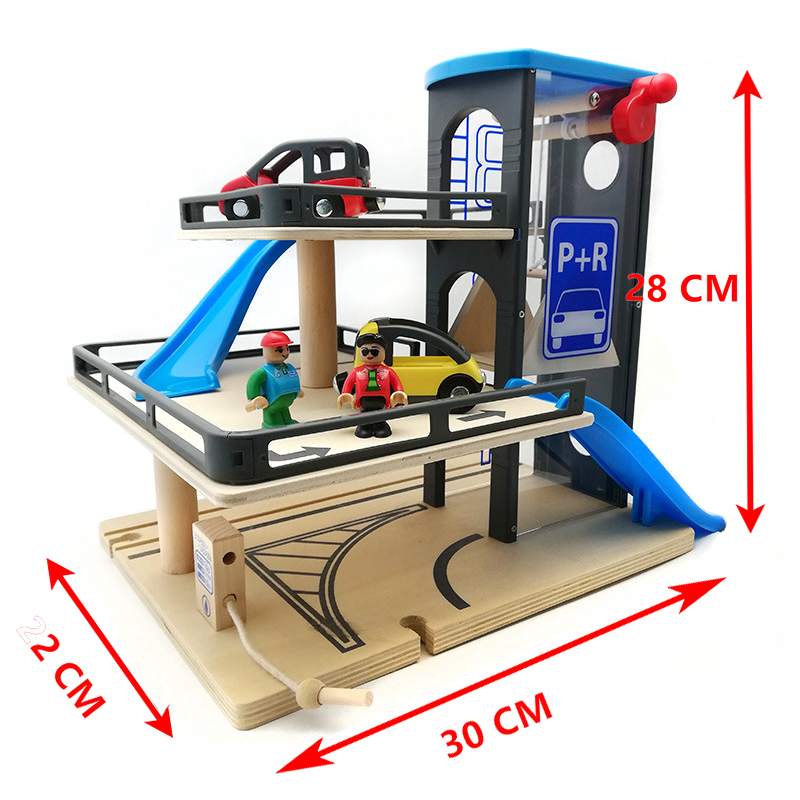 w1 Car track lifts Wooden track parking compatible with Thomas and Brio Wooden train track Children's inertial hand sliding toys