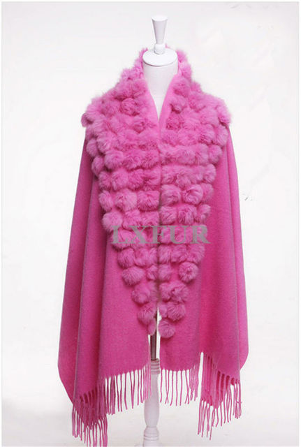 Classic Womens Cashmere Shawls with Fur Ball and Tassels Decoration Fashion Lady Spring Solid Wool Poncho Outwear Stole LX00019