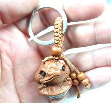 Porte-clés en acajou gravé en trois dimensions, pendentif grenouille réaliste, bijoux cadeau pour accessoires de voiture L40