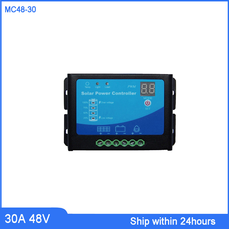 High Quality 30A 48V PWM Solar Charge Controller with Metal Cover/Soalr Panel Charge Regulator with LED light/Solar Road LightHigh Quality 30A 48V PWM Solar Charge Controller with Metal Cover/Soalr Panel Charge Regulator with LED light/Solar Road Light