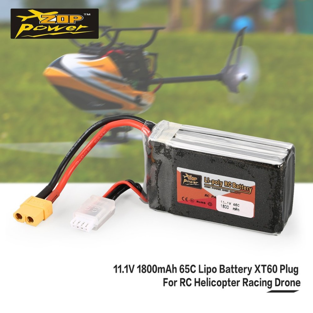 ZOP Power 11.1V <font><b>1800mAh</b></font> 65C <font><b>3S</b></font> 3S1P <font><b>Lipo</b></font> Battery XT60 Plug Rechargeable For RC Racing Drone Helicopter Car Boat Model image
