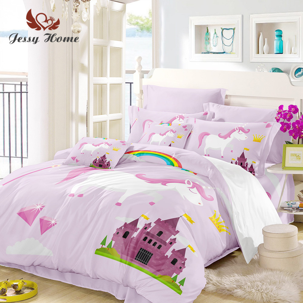 Unicorn Bedding Set Queen Size Pink Duvet Cover Rainbow Bed Set Castle Bedclothes 3pcs US/AU/RU Size with Pillow Case M945