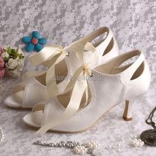 Wedopus MW923สีเบจซาตินMedส้นรองเท้าเจ้าสาวแต่งงาน6.5เซนติเมตรส้นริบบิ้น