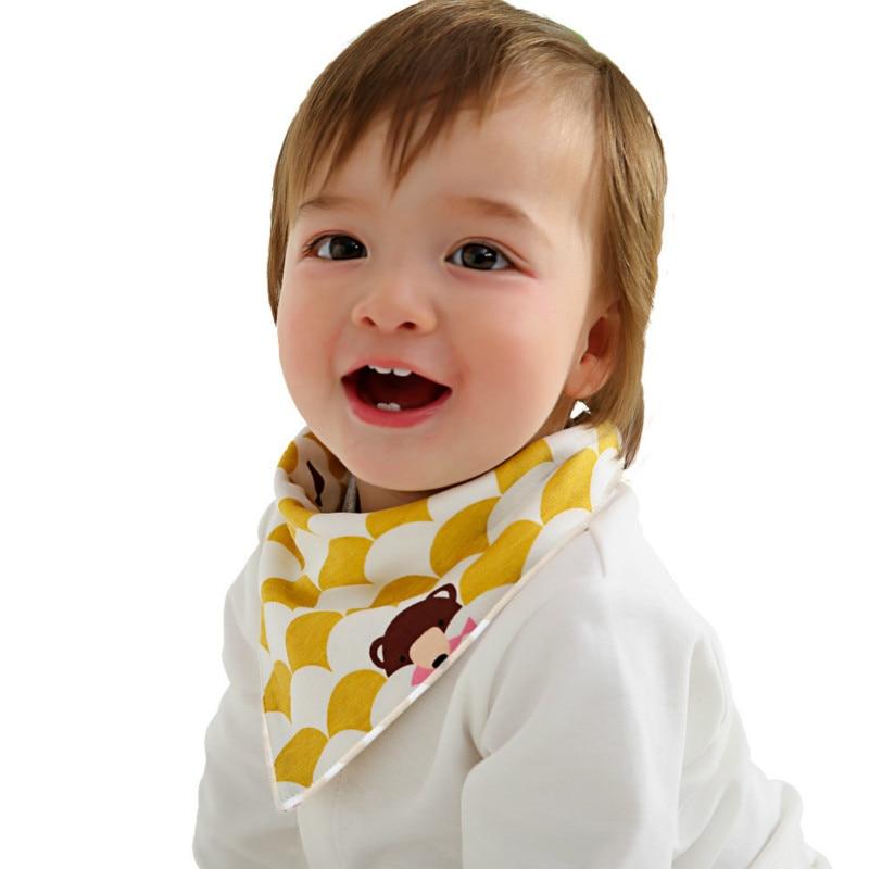 Baberos bibs triângulo de Alta qualidade camadas duplas de algodão do bebê Personagem de Desenho Animado Animal Print bebê bibs bandana dribble babadores para bebês