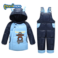Mamimore Rússia Inverno SnowSuit Para Baixo Quente Casaco Novo Bebê Para Baixo para Meninos e Meninas Dos Desenhos Animados da Criança Casaco Grosso Roupas 5 cores