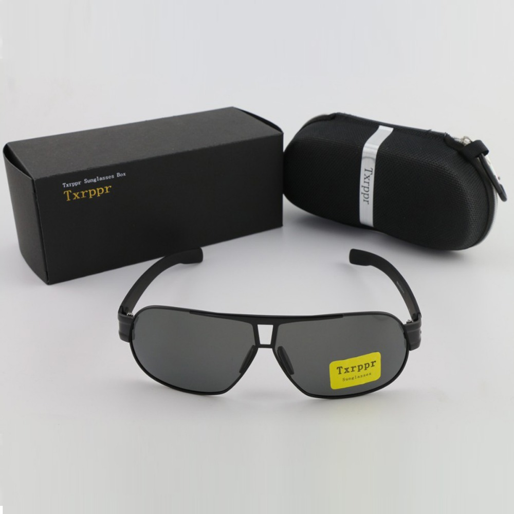 Txrppr Velkoformátové módní brýle pánské dámské značkové značkové sluneční brýle Black Metal Polarized lens