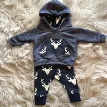 Baby Boy Clothes Infant clothes Cotton Long sleeve 2pcs suits Warm Outfits Deer Top Hoodie Top