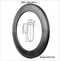 aerodynamics system carbon bicycle U shape 88mm tubular carbon road bike wheel 25mm width engineers New design type bike rim