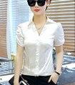 2017 Лето V шеи с коротким рукавом шифон атласная рубашки женщины работают одежда OL блузки Атласа женщины офис шелковый топы белый шелковые рубашки