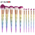 New Hot selling Rainbow Makeup Brushes 10pcs Thread Gradient Color Make Up Brushes set Blending Powder foundation Brush Kit