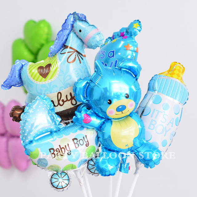 5pcs Cute Baby Shower Foil Balloons Boy Girl Air For 1st Birthday Party Decorations Kids Toy Blue Pink Baloon