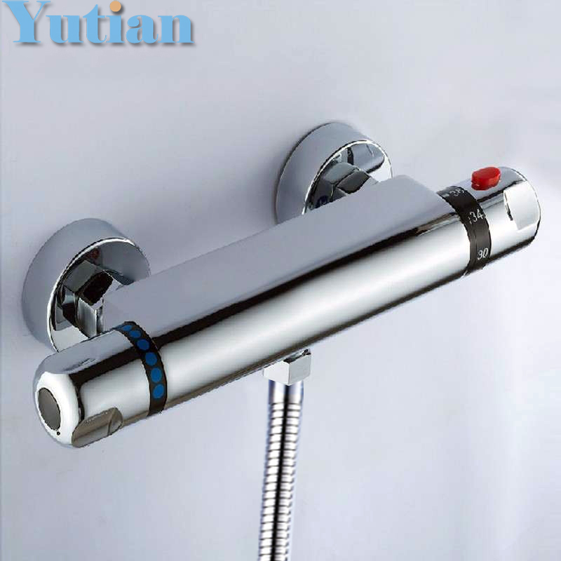 Free Shipping Wall Mounted Two Handle Thermostatic Shower Faucet Thermostatic Mixer , Shower Taps Chrome Finish,YT-5301-B mojue thermostatic mixer shower chrome design bathroom tub mixer sink faucet wall mounted brassthermostat faucet mj8246