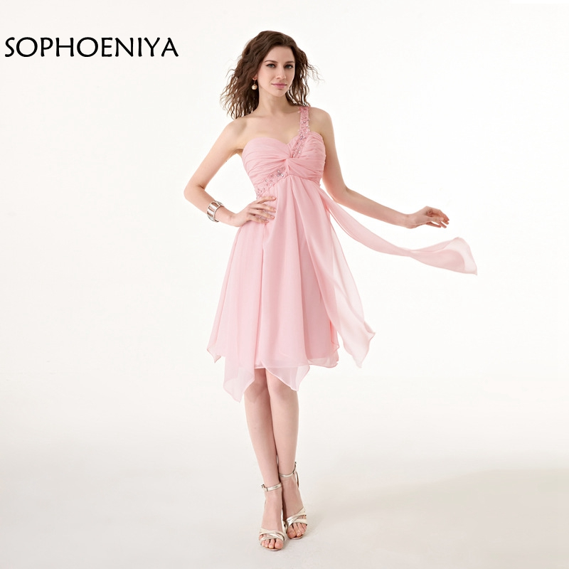 New Arrival Chiffon One shoulder Cheap Homecoming Dresses