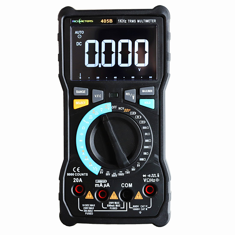 RM405B 20A Big Digital Multimeter 8000 Counts Black Screen NCV AC/DC Voltage Current Ohm Temperature RM405A