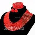 2017 Perfect Red Crystal Joyería de Los Granos Africanos Set Nigeriano Beads Africanos Joyería de la Boda de Tela de Encaje Envío Libre SET4