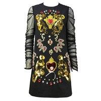 Новый модный бренд женское летнее платье 2018 О образным вырезом черный длинный рукав Сетчатое платье Винтаж бриллиантами Высокое качество э