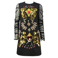 New Fashion Brand Women's Summer Dress 2018 O neck Black Long Sleeve Mesh Dress Vintage Diamonds High Quality Elegant Dress
