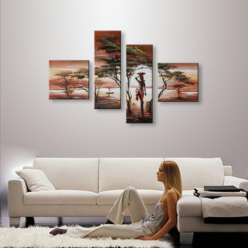 4 Panel Wall Art Pictures Hand Painted Natural Scenery Landscape Oil Painting Africa Women Acrylic Paintings