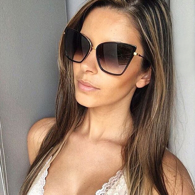 d77a69b3e60f7 HapiGOO Big Cat Eye Sunglasses Women Brand Designer Eyewear Female Male  Retro Sun Glasses UV400