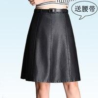 PU Leather Midi Spódnica Kobiety urząd pracy wear spódnica jesień zima 2016 PU spódnice kombinezon wysokiej talii spódnica kobiet plus duży rozmiar 4XL
