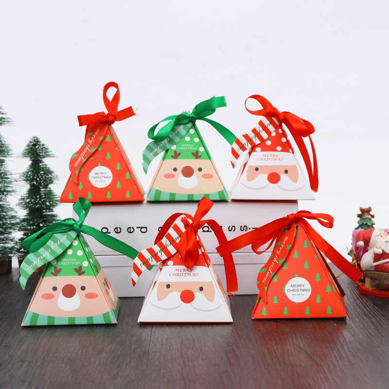 Merry Christmas Gift.10pcs Merry Christmas Gifts Boxes Santa Claus Snowman Xmas Tree Pyramid Candy Box Cookies Packaging With Bow Kids Favors