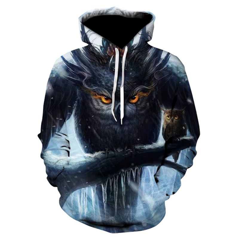 New men's casual hooded sweatshirt 3D owl fashion men and women cool hoodie 2019 spring and autumn fashion sportswear pullover