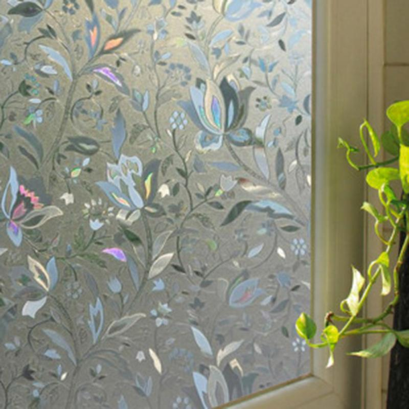 45x100cm recyclable frosted glass window film 3d flower sticker decorative stained glass film. Black Bedroom Furniture Sets. Home Design Ideas