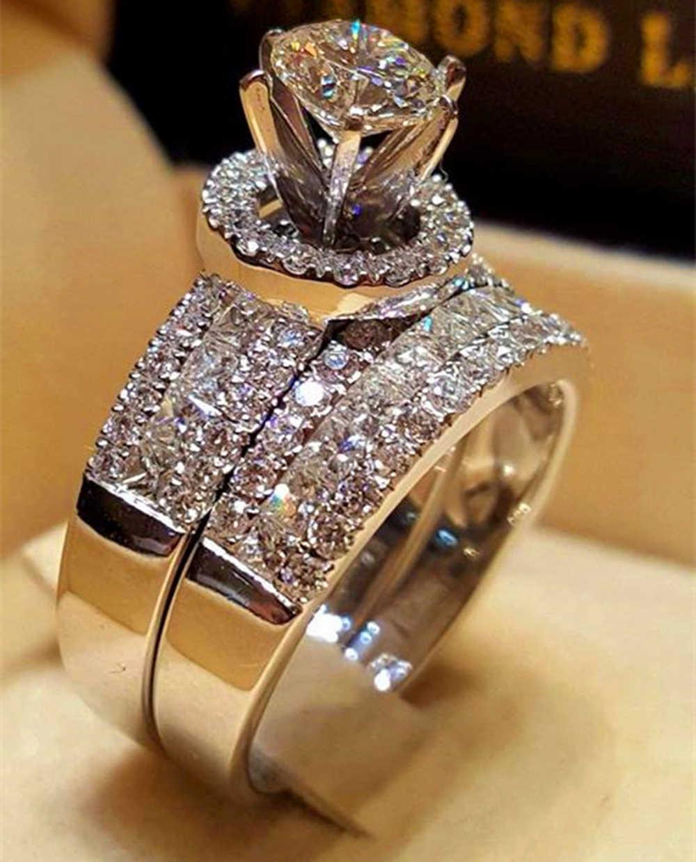 럭셔리 크리스탈 여성 빅 퀸 링 세트 여성을위한 패션 실버 컬러 신부의 결혼 반지 약속 사랑의 약혼 반지