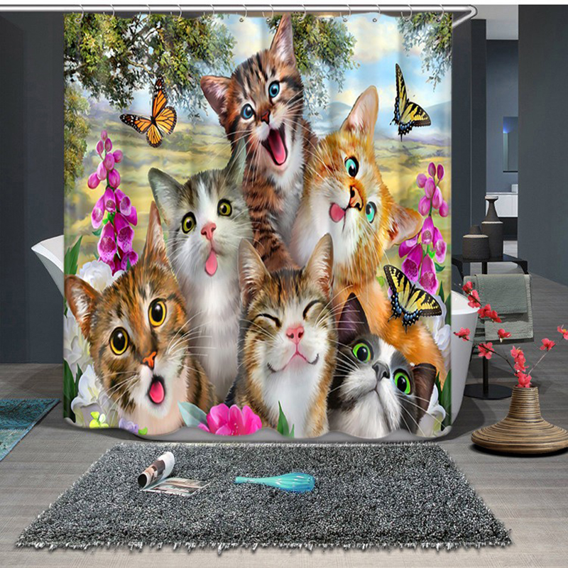 3D Small Cat Family and Sika Deer Butterfly Shower Curtains Bathroom Curtain Thicken Waterproof Thickened Bath Curtain