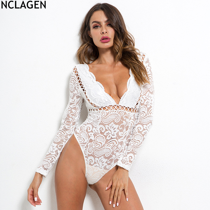 b12d568b726 NCLAGEN 2018 New Women Long Sleeve Sexy V Neck Transparent Playsuit Hollow  Out White Romper Jumpsuit