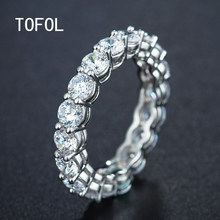 TOFOL New Fashion Zircon Women Ring Classic Jewelry Ring Holder Simple Round Ring Birthday Gifts