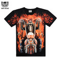 [Men bone] summer t-shirt for men new mens short sleeve tee shirt 3D print skull ghost with moto  tops tees black casual tshirt
