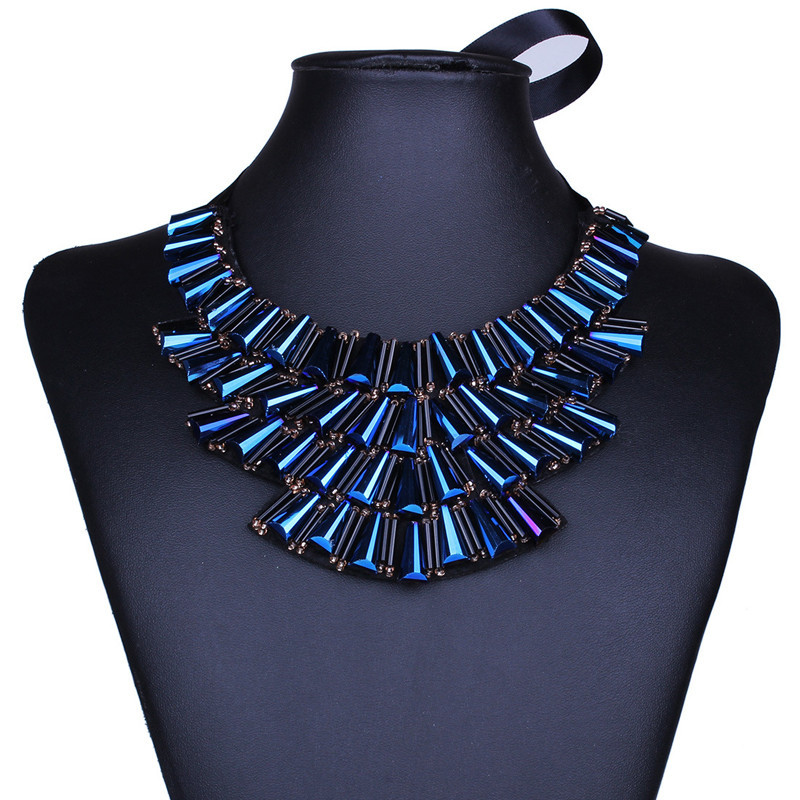 Bohemian jewerly blue crystal false collar maxi necklace chokers Europe America popular vintage slipknot necklaces 2016