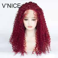 V'NICE Kinky Curly Ombre Red 180% Density Natural Glueless Synthetic Lace Front Wigs for Black Women Heat Resistant Fiber Hair