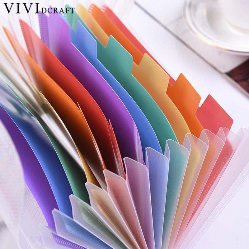 Vividcraft Office Supplies A6 Expanding File Folder Organizer Document Wallet Organizer Bag 13 Layer Rainbow Fichario Stationery