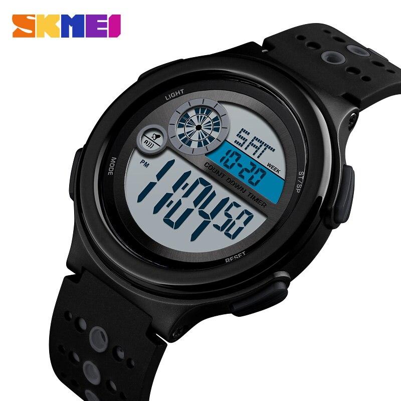 SKMEI 2 Time Sport Watch Men Chrono Stopwatch Wrist Watches For Mens Outdoor Digital Alarm Clock Montre Homme 1374 Hour