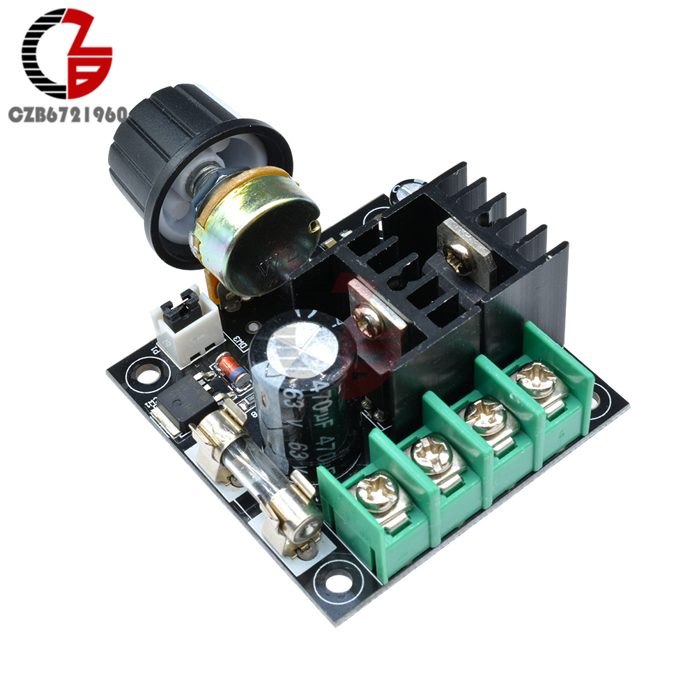 DC 12V 24V 36V Auto PWM DC Motor Speed Controller Module Voltage Regulator Board with Knob Governor Dimmer Switch 400W 10A DIY