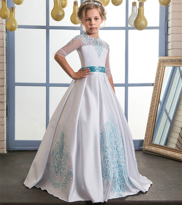 New Lace Flower Girl Dresses Beading Bow Belt O-neck Ball Gown Half Sleeves Formal First Communion Gowns Vestidos green crew neck roll half sleeves mini dress
