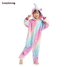Новые Девушки Единорог Kigurumi Onesie Дети пижамы с рисунками животных  Rainbow Star b336d02b9a172