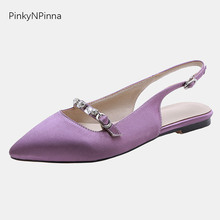 цена на new arrival pointed toe women satin slingback flat sandals crystal rhinestone casual summer purple holiday sweet dress shoes