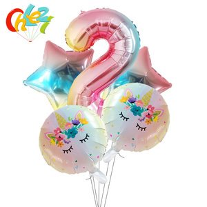 Image 3 - 5Pcs 1 2 3หมายเลขตกแต่งGlobosเด็กผู้หญิงของขวัญเด็กการ์ตูนยูนิคอร์นรูปบอลลูนฮีเลียมเด็กแสดงของเล่นเด็ก
