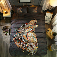 Fanaijia 3d Wolf Duvet Cover Set Queen Animal Bohemian Print Bedding Set Pillowcase Bedspreads Quilt Cover