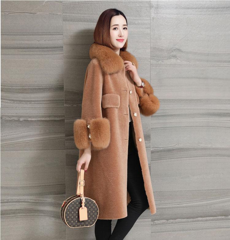 women natural sheep fur coat with real fox fur collar (7)