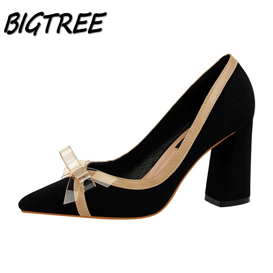 BIGTREE Women Square heel High heels Shoes Woman Pumps Ladies Fashion  Wedding Party sexy Mixed colors Butterfly knot Stilettos plus size 34 46 fashion high heels shoes women pumps square heel pointed toe dress pumps shallow party stilettos ladies footwear