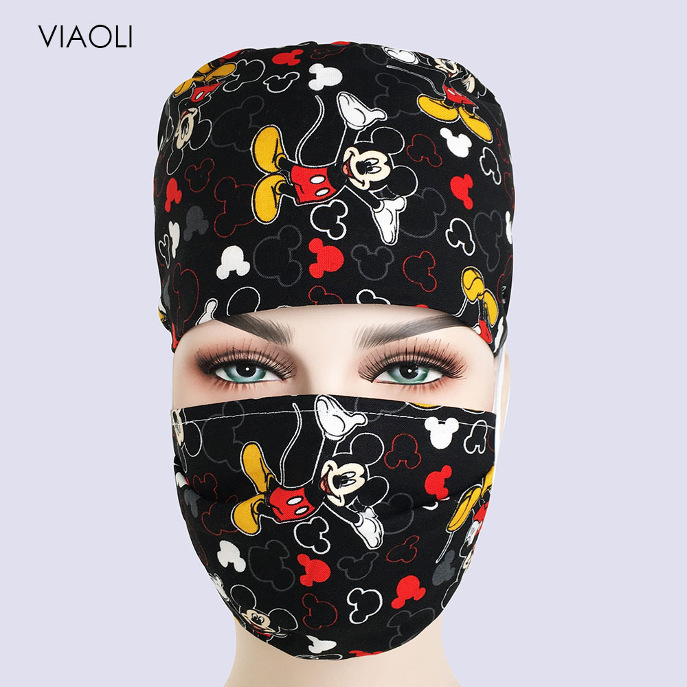 NEW Printed Cap Hospital Laser Eye Operating Room Hats Doctors Nurses Unisex Medical Surgical Beauty Caps Dentist Pet Scrub Cap