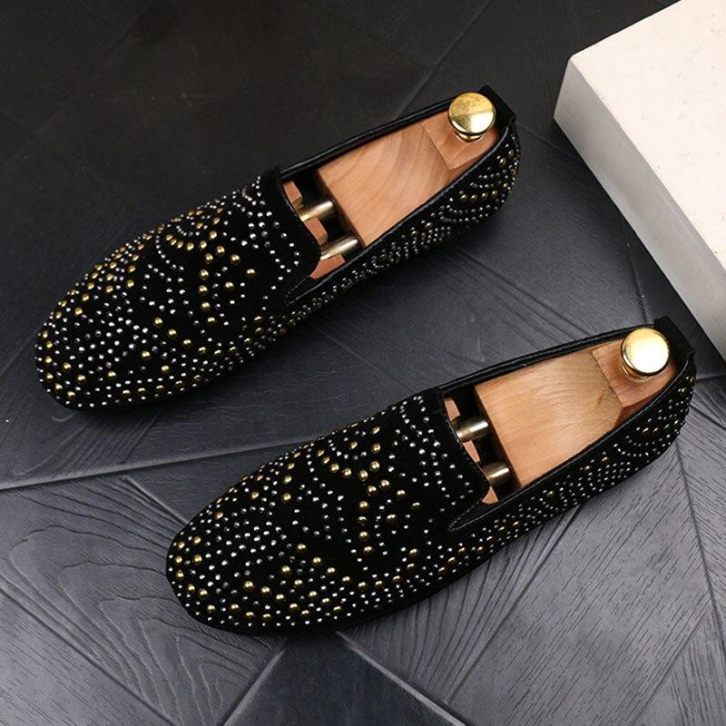 43 Mocasines Boda De Hombres Negro Imitación Zapatos Pop Fiesta Cristal Lujo Diamantes Hombre Purpurina Bling U1H6S