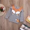 Горячее Надувательство! ребенок весна осень одежда дети топы тис девушки с длинным рукавом дна футболки дети футболки лиса