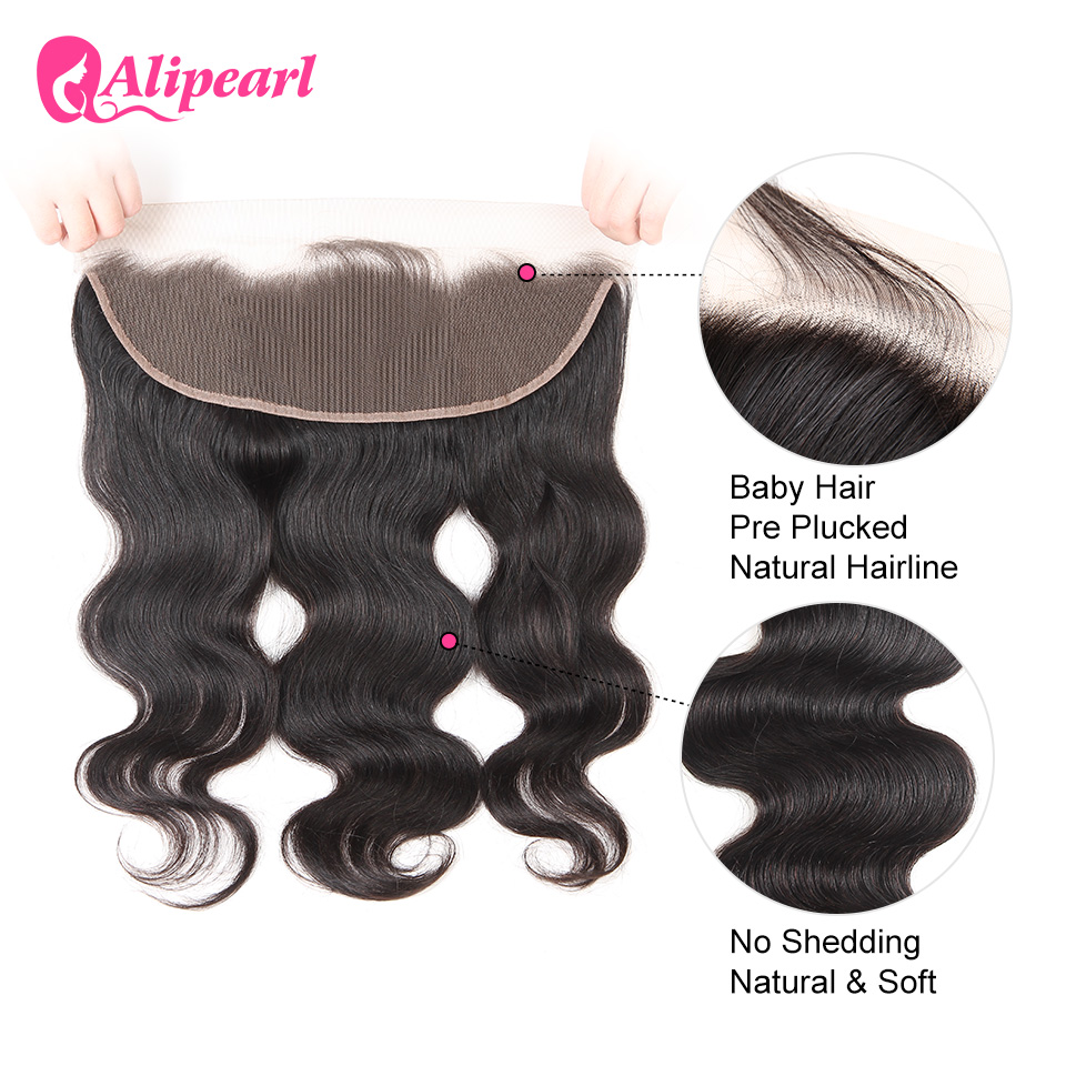 13X4 Pre Plucked Lace Frontal Closure With Baby Hair Body Wave Remy Hair Natural Color ALI PEARL HAIR