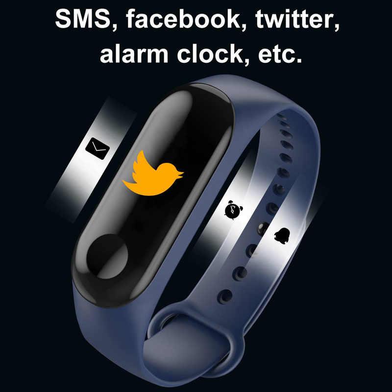חכם להקת LED דיגיטלי שעון גבר קצב לב צג Bluetooth צמיד שינה גשש כושר מד צעדים צמיד נשים שעונים